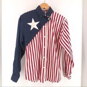 Vintage Roper Western American Flag Button Down